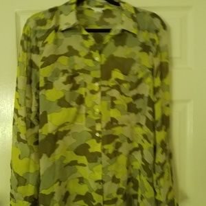 Club Monaco Semi Sheer Green Camouflage Buttondown